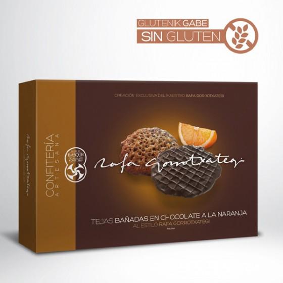 Laranjazko txokolatean bainatutako teilak. 150 g.