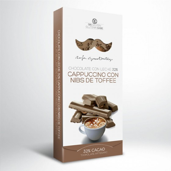 Txokolate esneduna (% 32) cappuccinoa toffee nibekin.