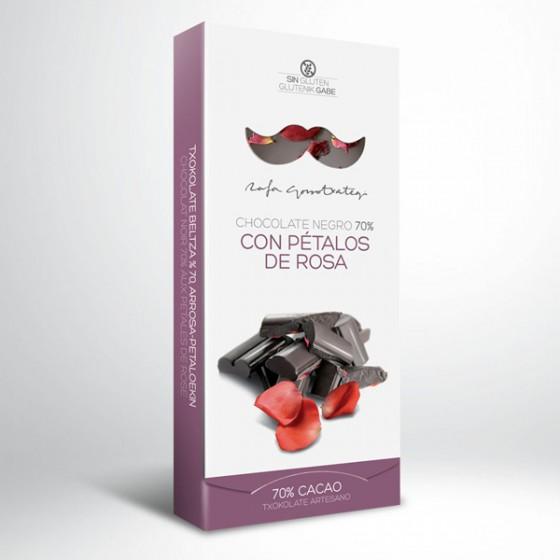 Txokolate beltza (% 70) arrosa petaloekin.